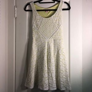 White and Neon Green Lace Dress